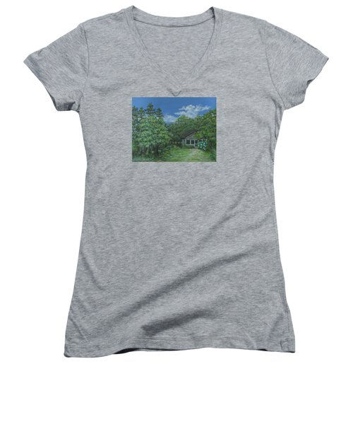 Women's V-Neck T-Shirt (Junior Cut) featuring the painting Pawleys Island Blue by Kathleen McDermott
