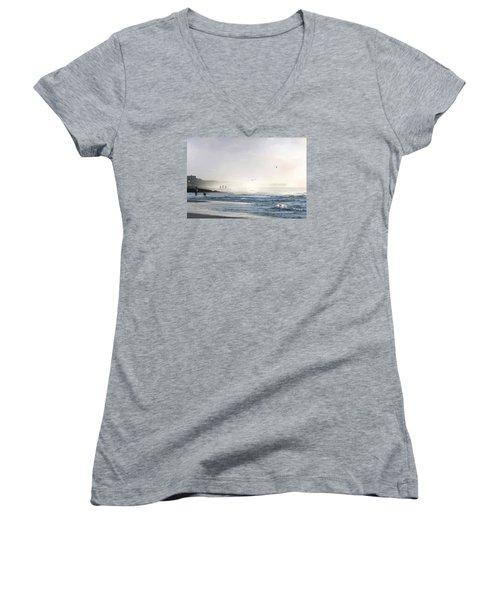 Women's V-Neck T-Shirt (Junior Cut) featuring the digital art Pawleys Island Morning Mist by Deborah Smith
