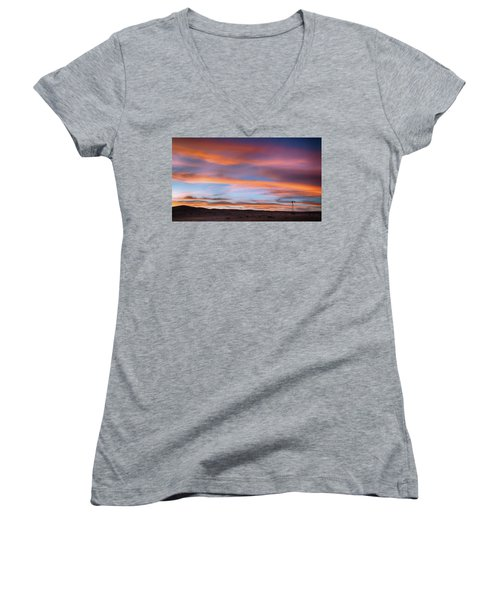 Women's V-Neck T-Shirt featuring the photograph Pawnee Sunset by Monte Stevens