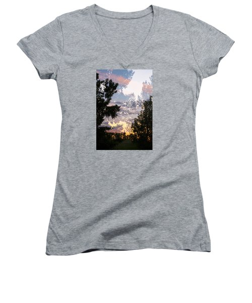 Paynotn Sunset Women's V-Neck T-Shirt (Junior Cut) by Ellery Russell