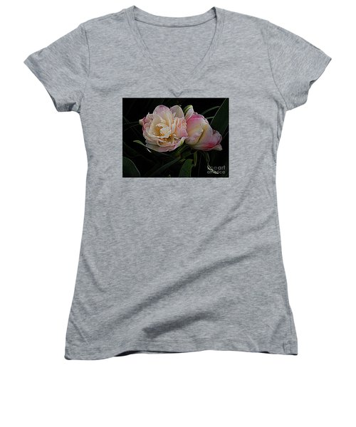Women's V-Neck T-Shirt (Junior Cut) featuring the photograph Pe0ny Tulip Duet 2 by Nancy Kane Chapman