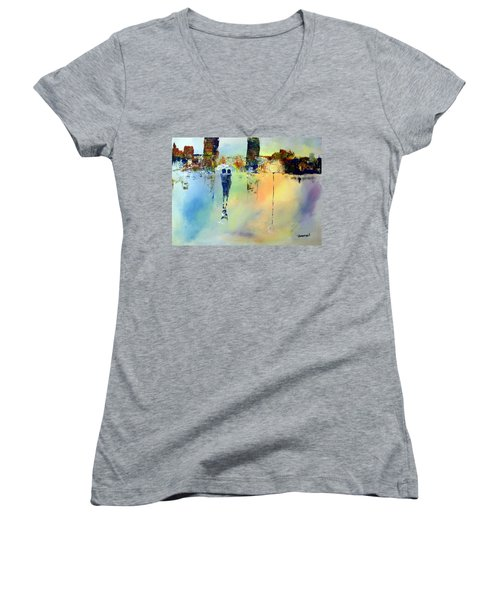 Women's V-Neck T-Shirt (Junior Cut) featuring the painting Peace At Twilight by Raymond Doward