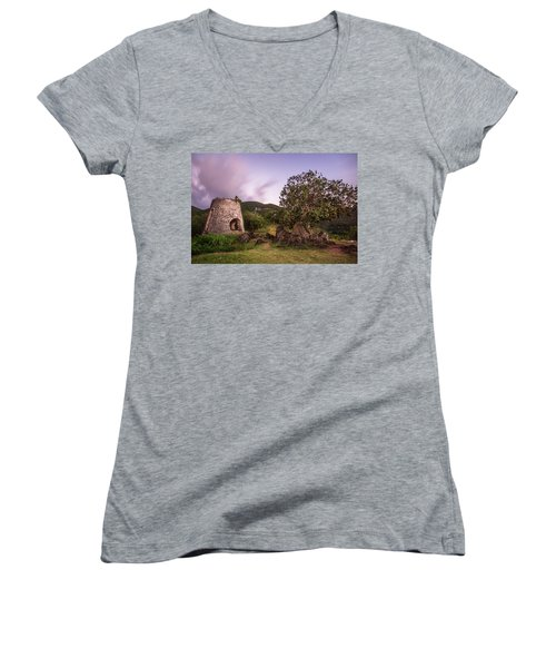 Women's V-Neck T-Shirt (Junior Cut) featuring the photograph Peace Hill Ruins by Adam Romanowicz