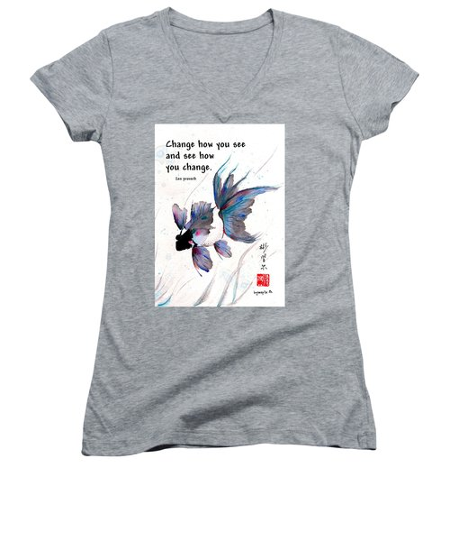 Peace In Change With Zen Proverb Women's V-Neck T-Shirt (Junior Cut) by Bill Searle