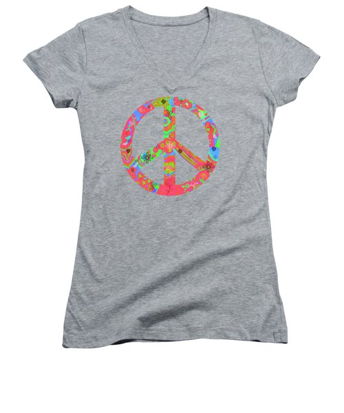 Women's V-Neck T-Shirt (Junior Cut) featuring the digital art Peace by Linda Lees