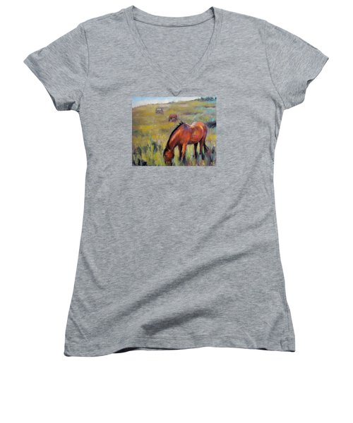 Peace On The Mountain Women's V-Neck T-Shirt