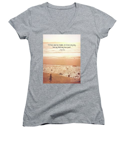 Women's V-Neck T-Shirt featuring the photograph Peace by Peggy Hughes