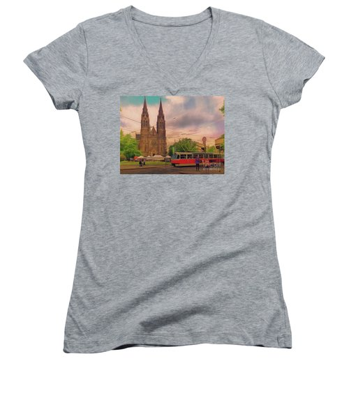 Peace Square Prague Women's V-Neck