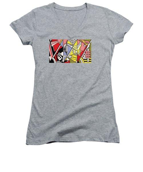 Peace Through Chemistry I Women's V-Neck T-Shirt (Junior Cut) by Roy Lichtenstein