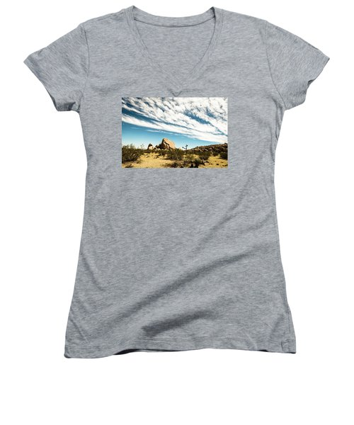 Peaceful Boulder Women's V-Neck T-Shirt (Junior Cut) by Amyn Nasser