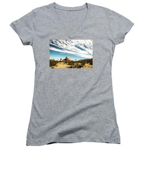 Peaceful Boulder Women's V-Neck T-Shirt (Junior Cut) by Amyn Nasser
