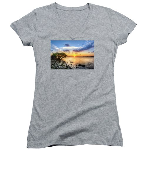 Women's V-Neck T-Shirt (Junior Cut) featuring the photograph Peaceful Evening On The Waterway by Debra and Dave Vanderlaan