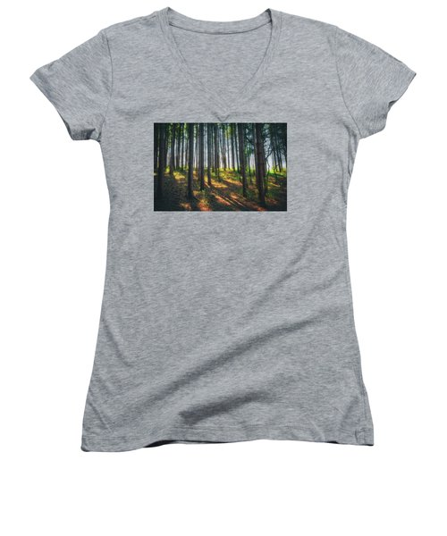 Peaceful Forest - Spring At Retzer Nature Center Women's V-Neck T-Shirt (Junior Cut) by Jennifer Rondinelli Reilly - Fine Art Photography
