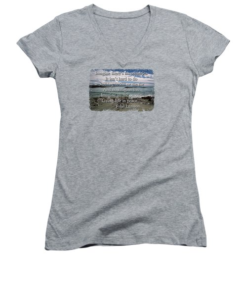 Peaceful Pacific Beach Women's V-Neck T-Shirt