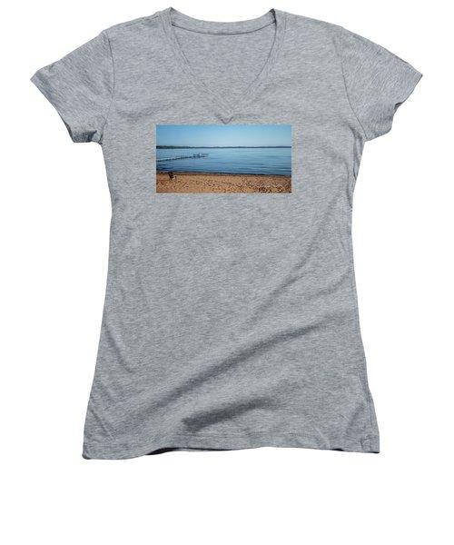 Women's V-Neck T-Shirt (Junior Cut) featuring the photograph Grand Traverse Bay Beach-michigan  by Joann Copeland-Paul