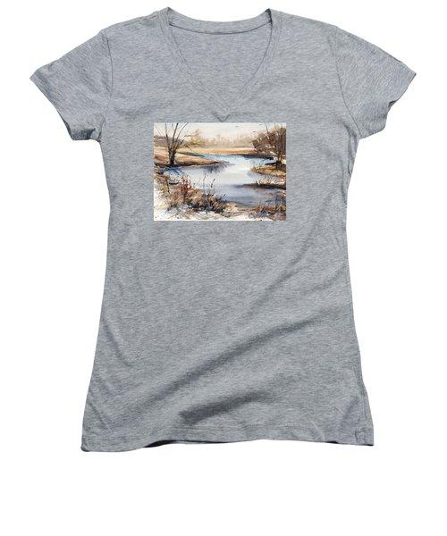 Peaceful Stream Women's V-Neck T-Shirt (Junior Cut) by Judith Levins