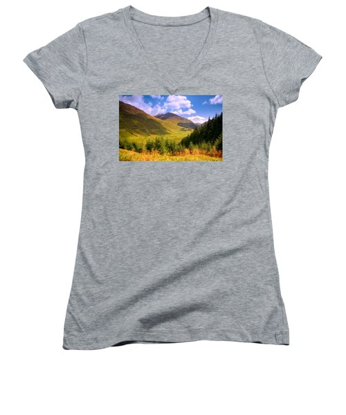 Peaceful Sunny Day In Mountains. Rest And Be Thankful. Scotland Women's V-Neck