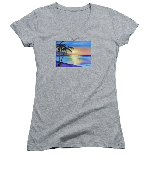 Peaceful Sunset Women's V-Neck (Athletic Fit)
