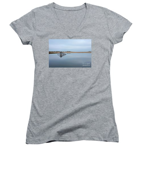 Peaceful Tidepool On The Outer Banks Women's V-Neck T-Shirt (Junior Cut) by Dan Carmichael
