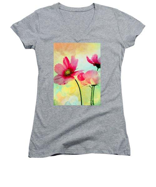 Women's V-Neck T-Shirt (Junior Cut) featuring the digital art Peacefulness by Klara Acel