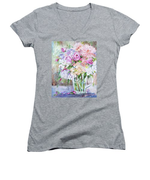 Peach And Pink Bouquet Women's V-Neck (Athletic Fit)
