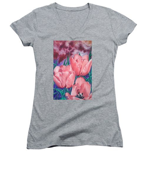 Women's V-Neck T-Shirt (Junior Cut) featuring the painting Peach Pink Tulips by Sigrid Tune