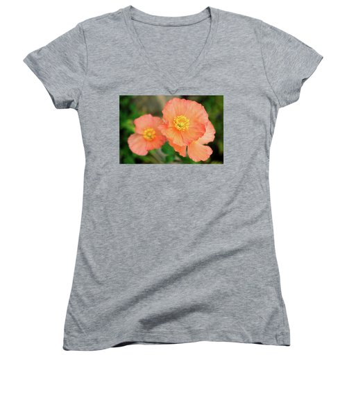 Women's V-Neck T-Shirt (Junior Cut) featuring the photograph Peach Poppies by Sally Weigand