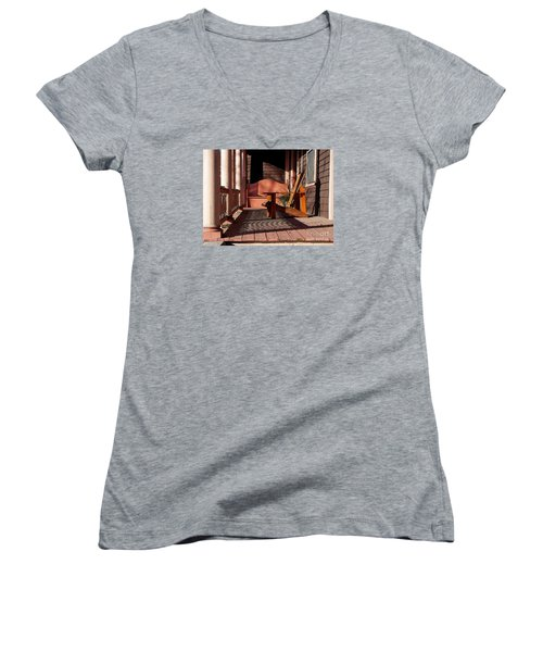 Peach Porch Women's V-Neck T-Shirt (Junior Cut) by Betsy Zimmerli