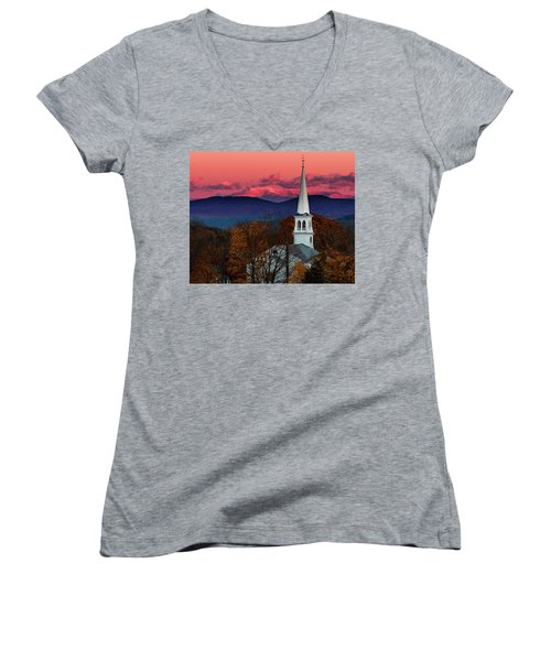 Peacham And White Mtn Sunset Women's V-Neck T-Shirt (Junior Cut) by Tim Kirchoff