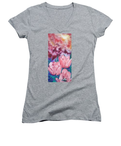 Women's V-Neck T-Shirt (Junior Cut) featuring the painting Peachypink Tulips by Sigrid Tune