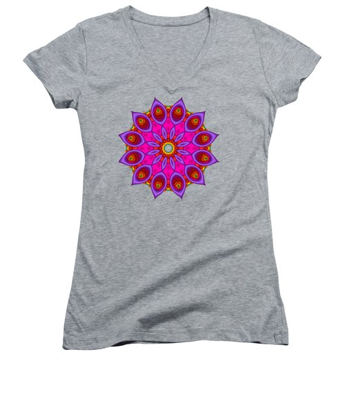 Peacock Fractal Flower II Women's V-Neck