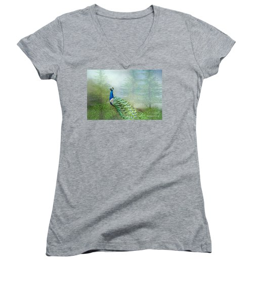 Peacock In The Forest Women's V-Neck (Athletic Fit)