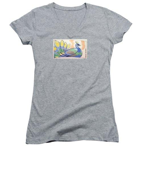 Peacock Women's V-Neck T-Shirt (Junior Cut) by Loretta Nash