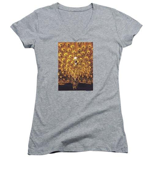 Peacock Man Women's V-Neck T-Shirt (Junior Cut) by Seth Weaver