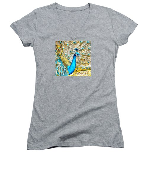 Women's V-Neck T-Shirt (Junior Cut) featuring the digital art Peacock Paradise by Charmaine Zoe