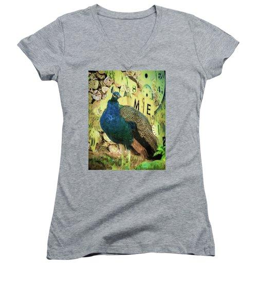 Peacock Time Women's V-Neck T-Shirt