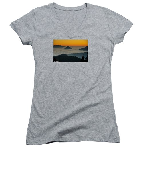 Peaks Above The Fog At Sunset Women's V-Neck T-Shirt (Junior Cut) by Jeff Goulden