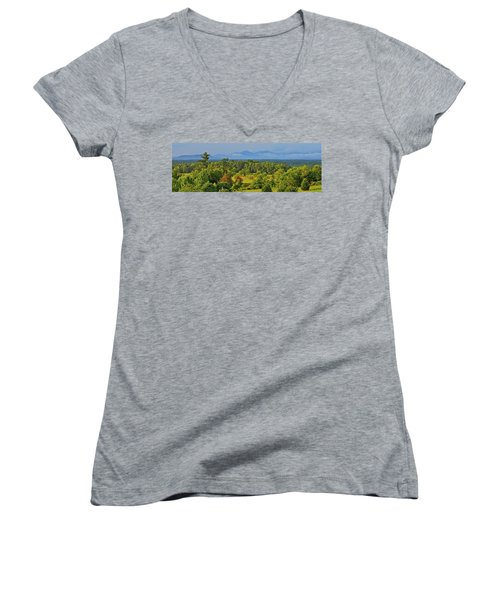 Peaks Of Otter After The Rain Women's V-Neck T-Shirt (Junior Cut) by The American Shutterbug Society