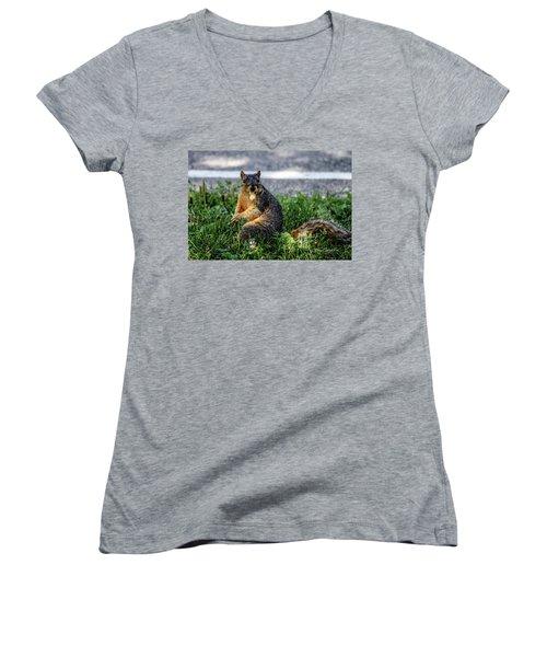 Women's V-Neck T-Shirt (Junior Cut) featuring the photograph Peanut by Joann Copeland-Paul