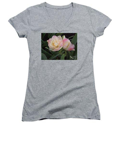 Peony Tulip Duet Women's V-Neck T-Shirt (Junior Cut) by Nancy Kane Chapman