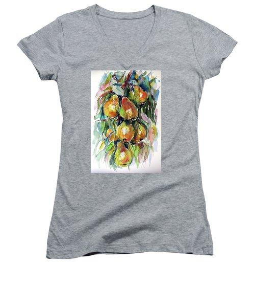 Women's V-Neck T-Shirt (Junior Cut) featuring the painting Pear by Kovacs Anna Brigitta