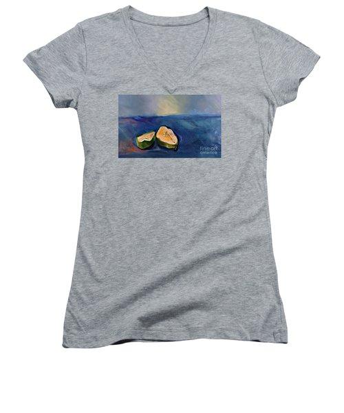 Pear Split Women's V-Neck T-Shirt (Junior Cut)