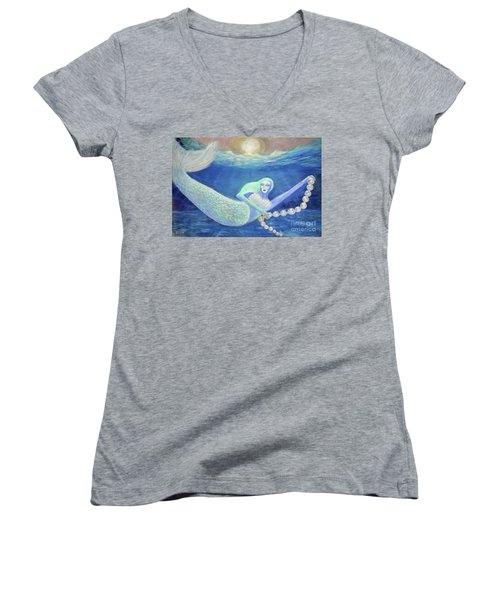 Pearl Of The Sea Women's V-Neck T-Shirt (Junior Cut) by Lyric Lucas