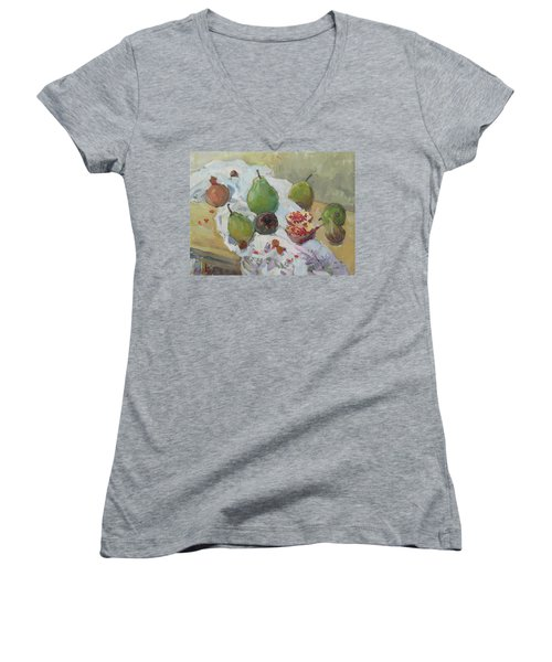 Pears Figs And Young Pomegranates Women's V-Neck T-Shirt