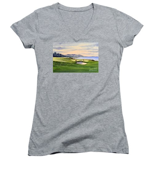Pebble Beach Golf Course Women's V-Neck T-Shirt (Junior Cut) by Bill Holkham