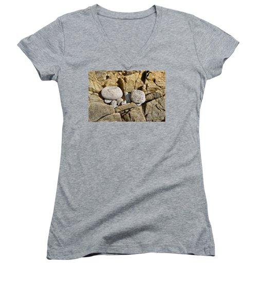 Pebble Pocket Photo Women's V-Neck T-Shirt (Junior Cut) by Peter J Sucy