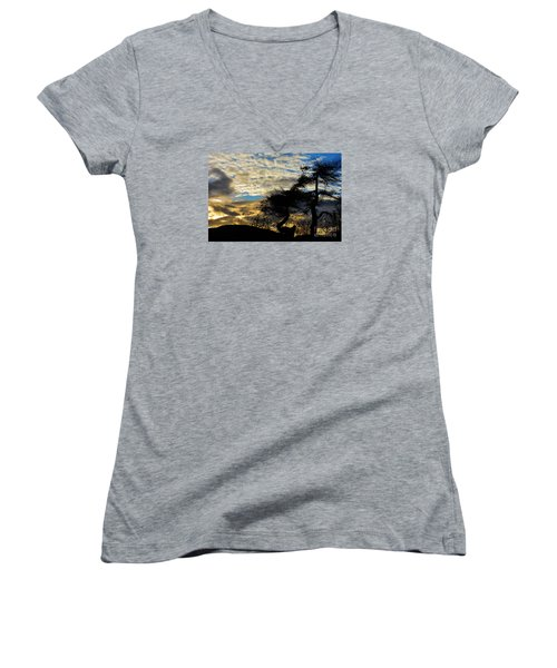 Pebbles Beach Pine Tree Women's V-Neck T-Shirt