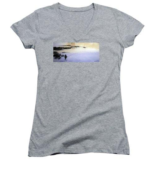 Peche Women's V-Neck T-Shirt (Junior Cut) by Ed Heaton