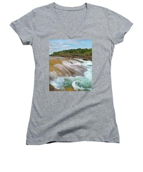 Pedernales Falls Women's V-Neck T-Shirt (Junior Cut) by Tim Fitzharris