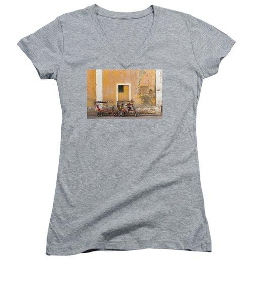 Women's V-Neck T-Shirt (Junior Cut) featuring the photograph Pedicabs At Convento De Santa Clara Havana Cuba by Charles Harden